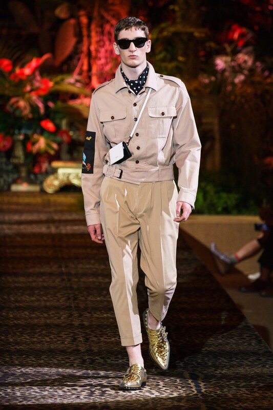 Spring Summer 20 Menswear, Dolce & Gabanna, Tailored Safari Suit Suit with Cross Body Bag