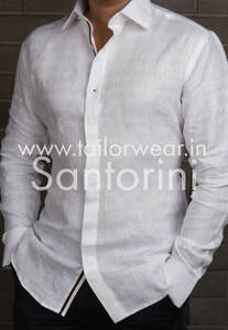 Custom Made White Linen Designer Shirt