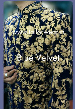 Tailored Sherwani in Velvet with Embroidery