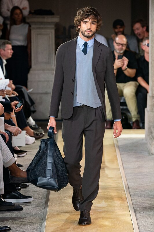 Spring Summer 20 Menswear, Georgio Armani, Suit with Pleated Trousers
