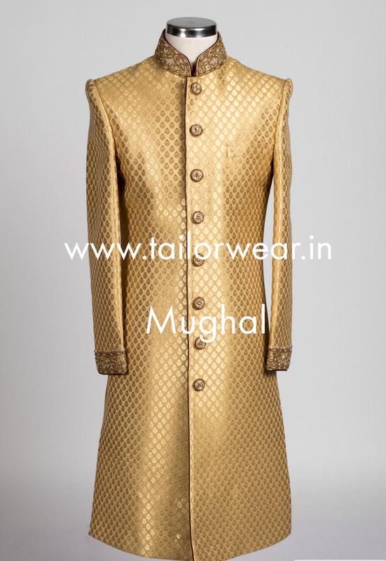 Tailored Sherwani in Silk with Embroidery Work
