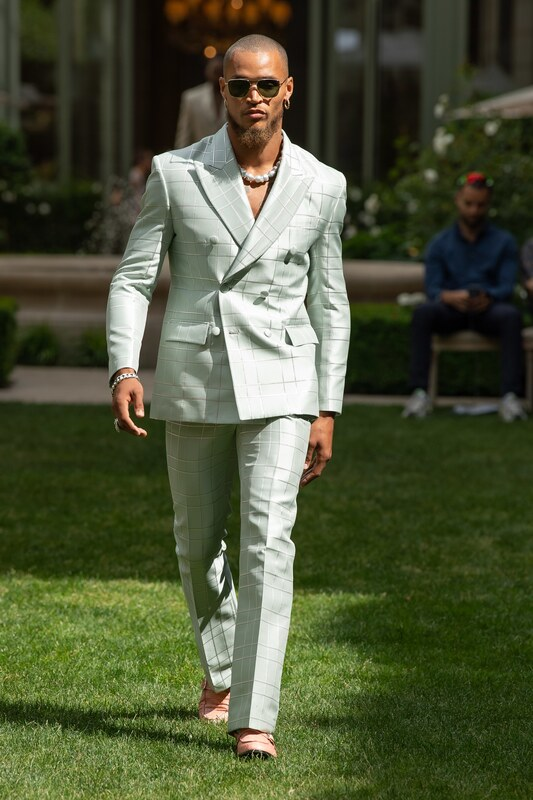 Spring Summer 20 Menswear SS World Corp Tailored Suit in Neo Mint Color