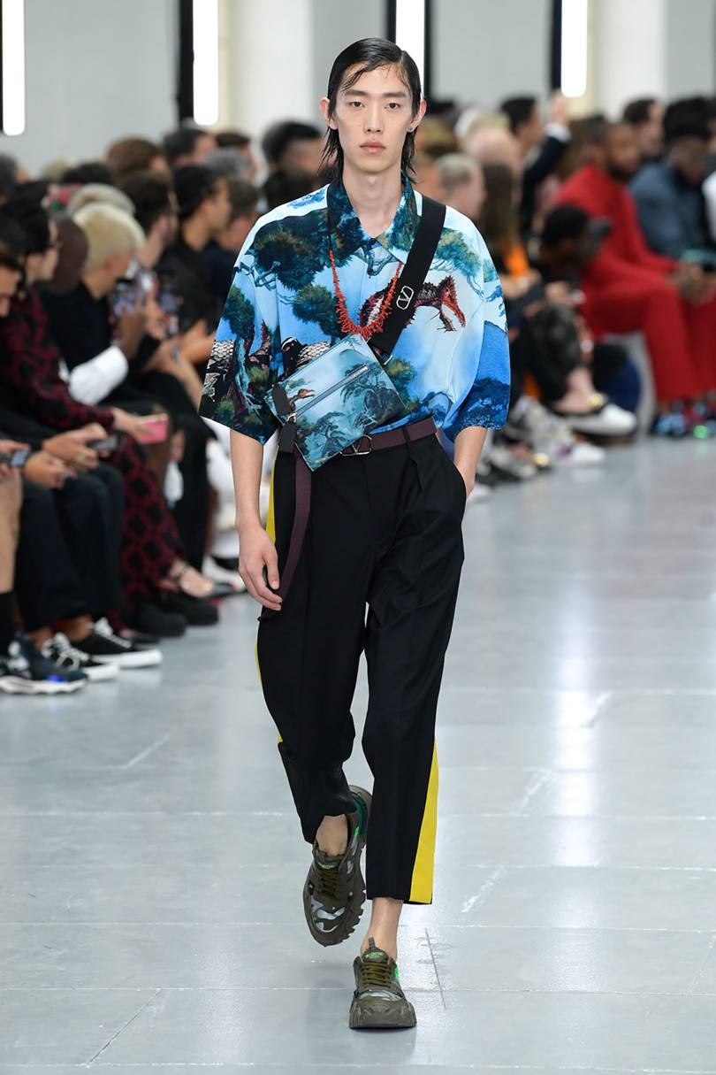 Spring Summer 20 Menswear, Valentino, Printed Shirt with Cross Body Bag
