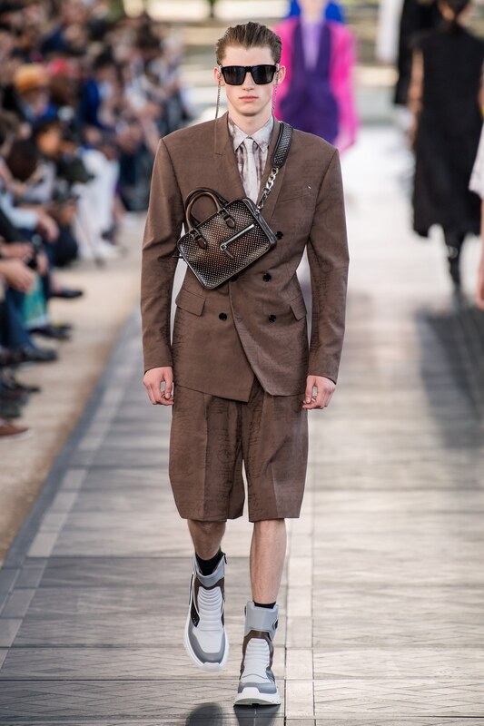 Spring Summer 20 Menswear, Belruti, Tailored Double Breasted Suit in Browns with Cross Body Bag