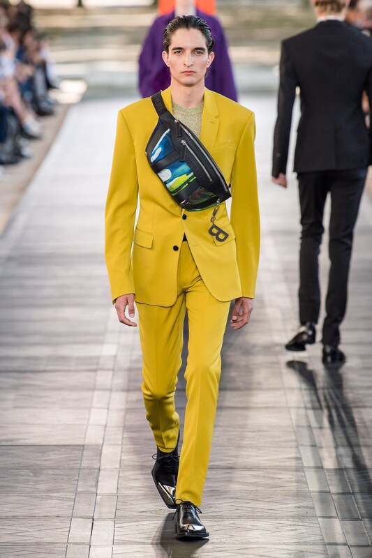 Spring Summer 20 Menswear, Tailored Suit in Yellow with Cross Body Bag