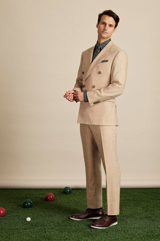 Spring Summer 20 Menswear, Canali, Tailored Double Breasted Suit in Beige Color