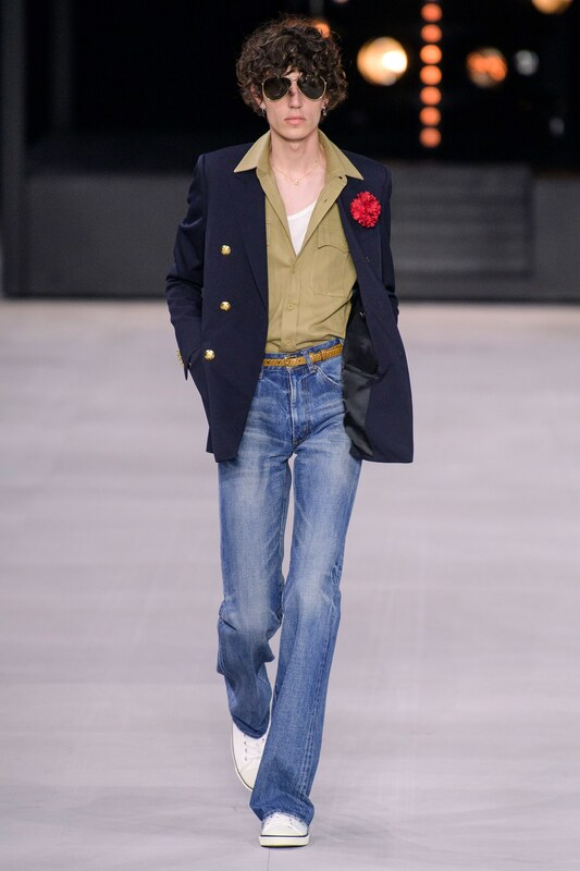 Spring Summer 20 Menswear, Celine, Tailored Double Breasted Jacket in Midnight Blue with Metal Buttons