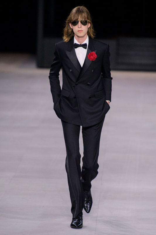Spring Summer 20 Menswear, Celine, Tailored Double Breasted Tuxedo Suit in Black Color