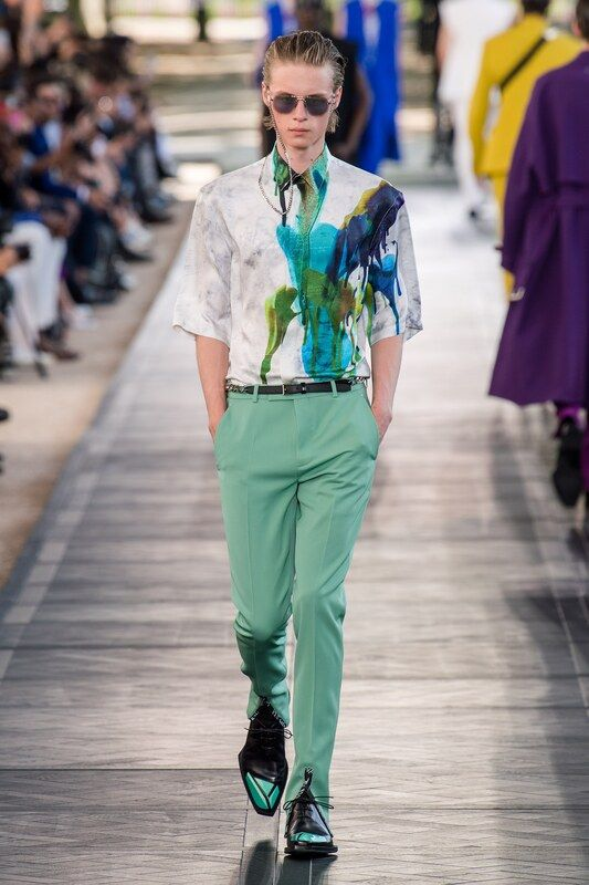 Spring Summer 20 Menswear, Belruti, Marble Print Shirt with Neo Mint Trousers