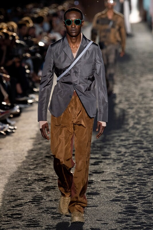 Spring Summer 20 Menswear, Ermenegildo Zegna, Suit in Grey & Brown with Cross Body Bag