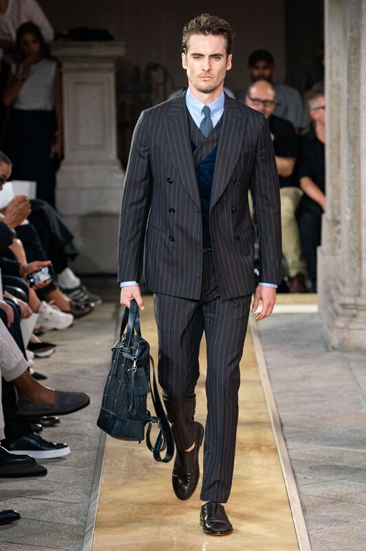 Spring Summer 20 Menswear, Georgio Armani, Three Piece Double Breasted Suit in Bold Stripes
