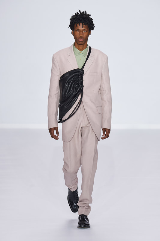 Spring Summer 20 Menswear, Pail Smith, Tailored Suit with Cross Body Bag